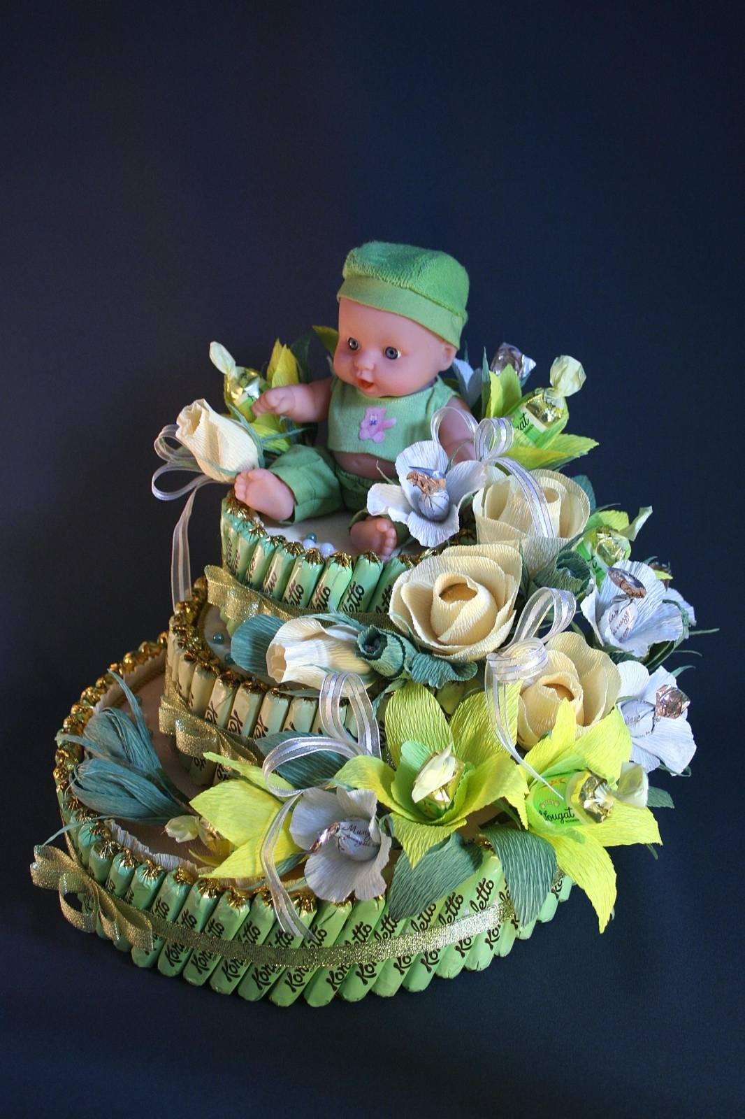 Подарки из конфет на рождение ребенка 233